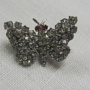 Vintage Butterfly Pin with Red and Clear Rhinestones