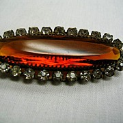 Oval Amber and Clear Rhinestone Brooch