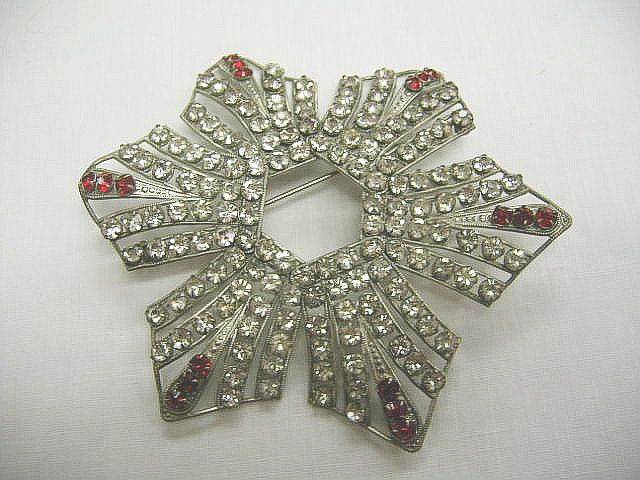 Vintage Shoulder Pin with Red and Clear Rhinestones