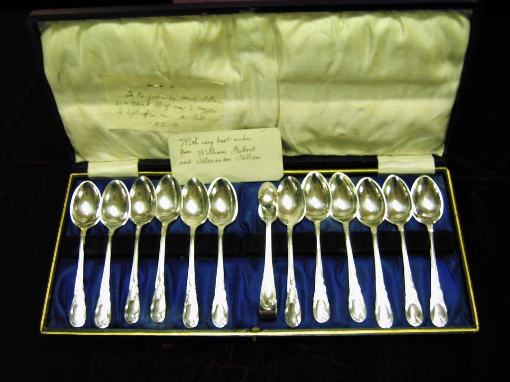Boxed Set Twelve S/P teaspoons & Sugar Tongs ca. 1930's