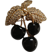 Vintage Ciner Black Cherry Brooch