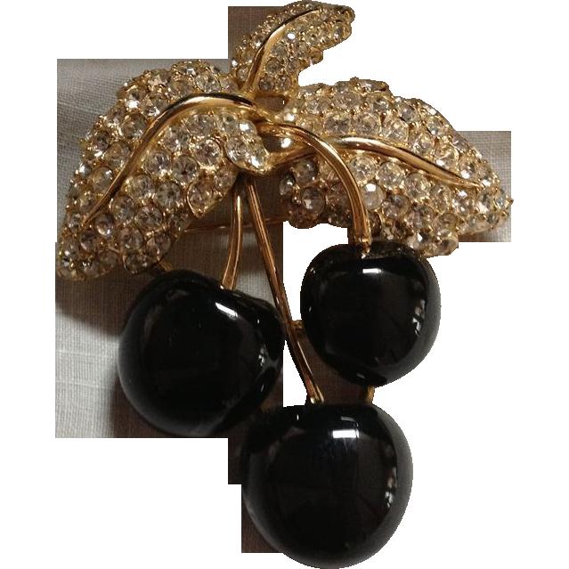 Vintage Ciner Black Cherry Brooch
