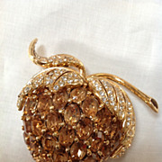 Vintage Ciner Golden Strawberry Brooch