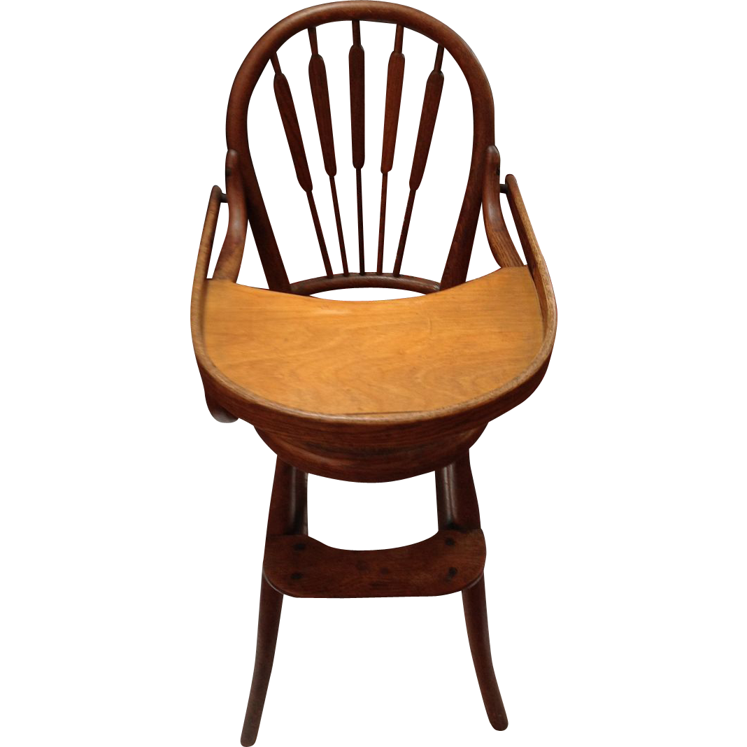 Antique high chair bentwood - Early Thonet Style Child S Bentwood Oak High Chair