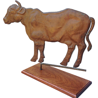 Full Body Copper Cow Weather Vane 30""