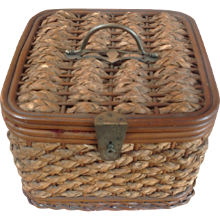 Antique Wicker Sewing Basket and Contents