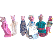Folk Art Finger Puppets Set of Six Circa 1945 Set No. 1