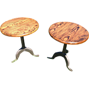 INDUSTRIAL CAST IRON BASE OAK STOOLS