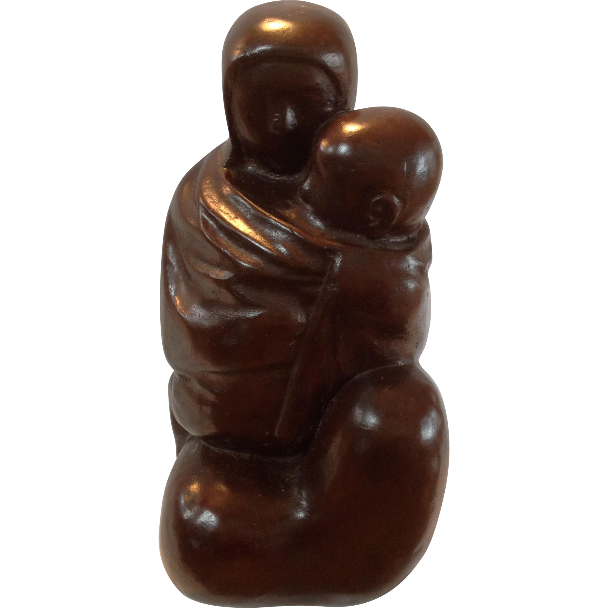 "BRONZE SCULPTURE OF MOTHER AND CHILD BY ""AZRIEL AWRET"" NA. CIRCA 1940-1950"