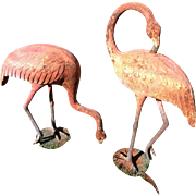 Pair Vintage Cast Iron Flamingos circa Early to Mid-Century