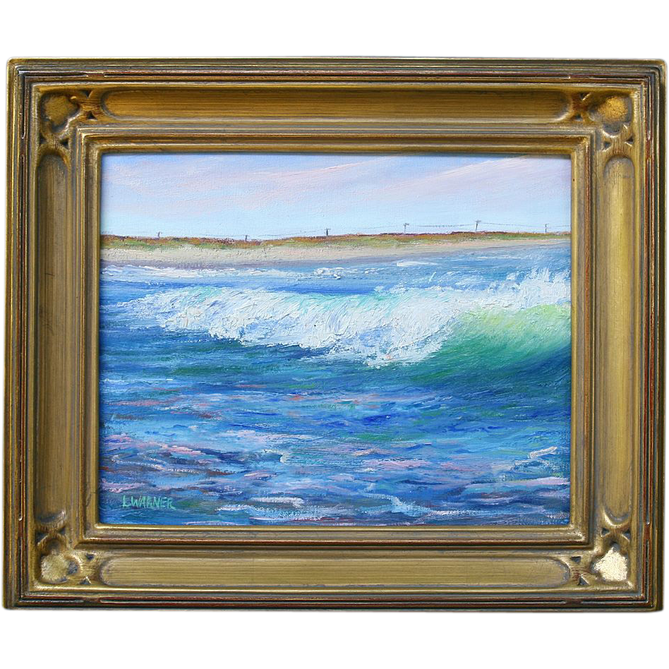 Seascape-Breaking Wave-Framed 8 X 10 Oil Painting by L. Warner
