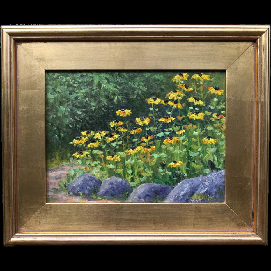 Rock Garden-Black-Eyed Susan's-Landscape Oil Painting-By L. Warner