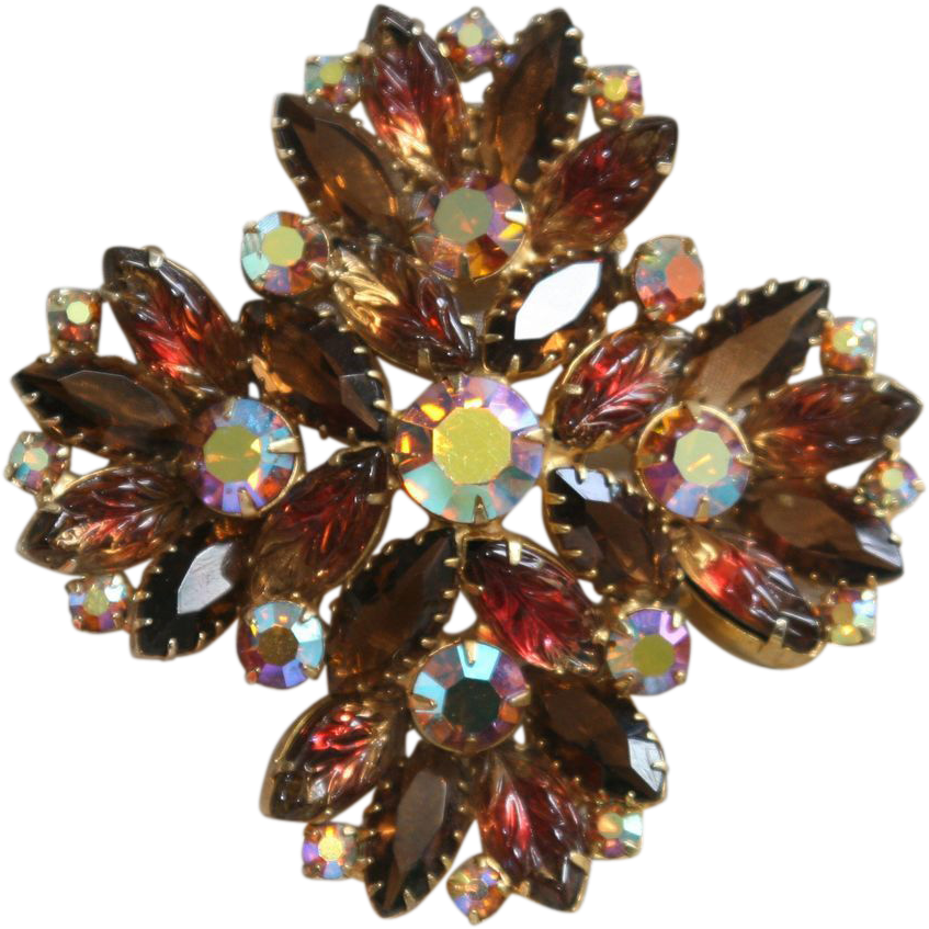 Floral Brooch-Molded Leaves & Navettes-Vintage Splendor-Faux Topaz Rainbow