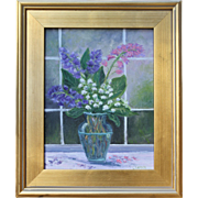 Springtime Bouquet-Framed 11 X 14 Oil Painting by Artist L. Warner-Pink and Purple Wild Flowers