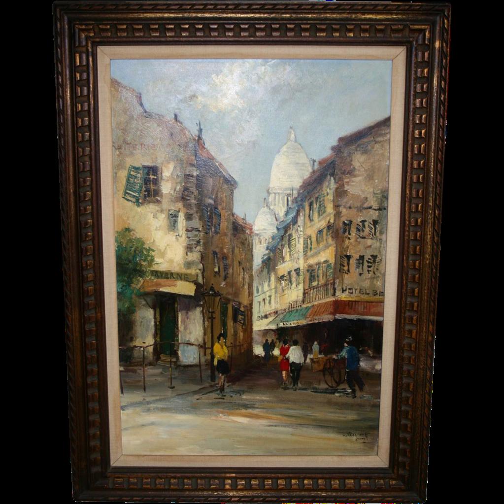 Paris, France Oil Painting-Sacre-Coeur-Montmartre-Mid-Century Street Painting