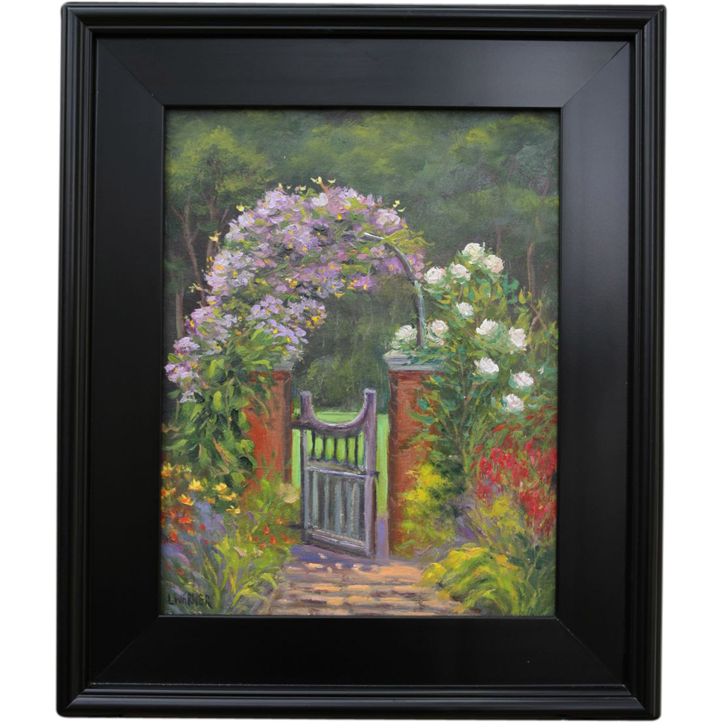Peaceful Place-Garden Landscape-Oil Painting by L. Warner