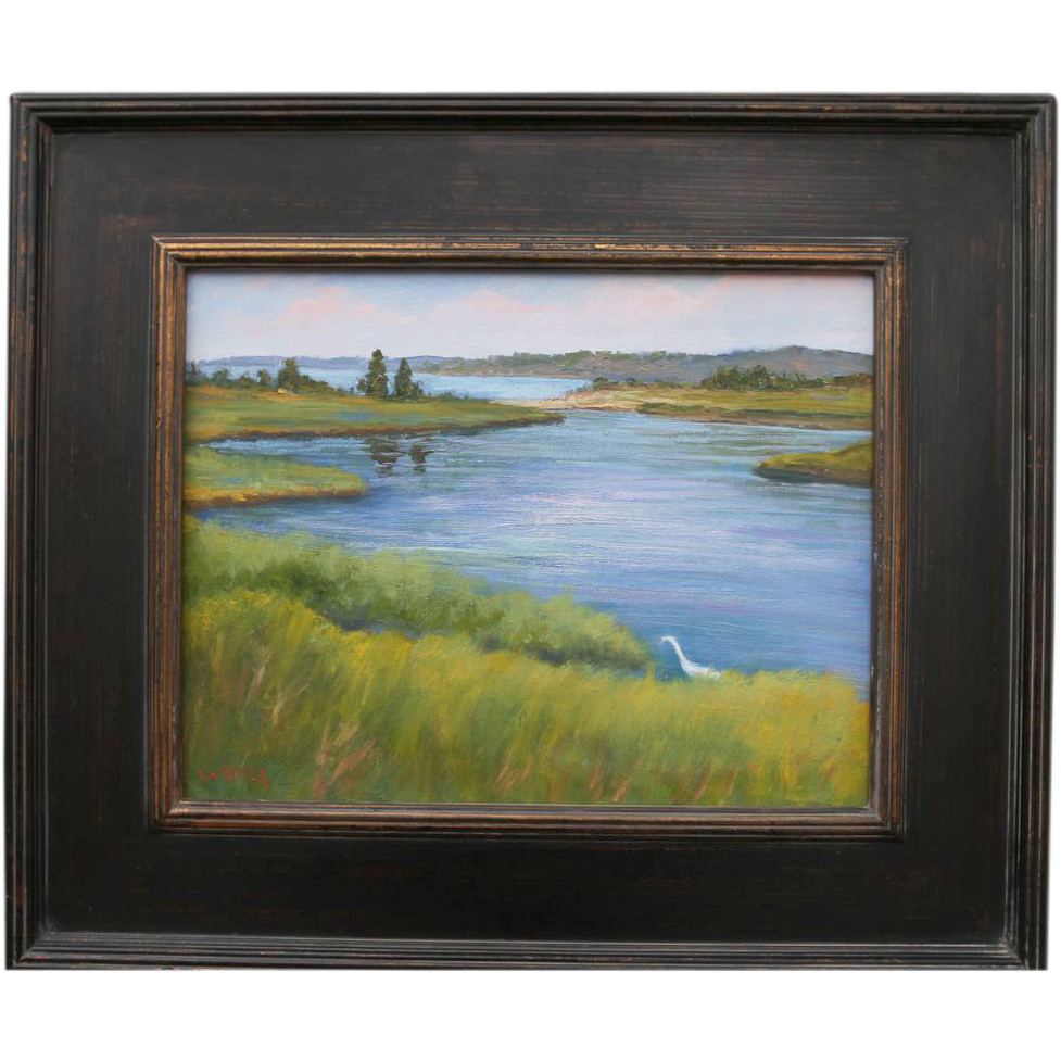 Egret In Tidal Marsh-11 X 14 Framed Oil Painting by L. Warner