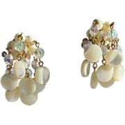 Vendome Clip Earrings-Crystals & Mother of Pearl Dangles-Tres Chic