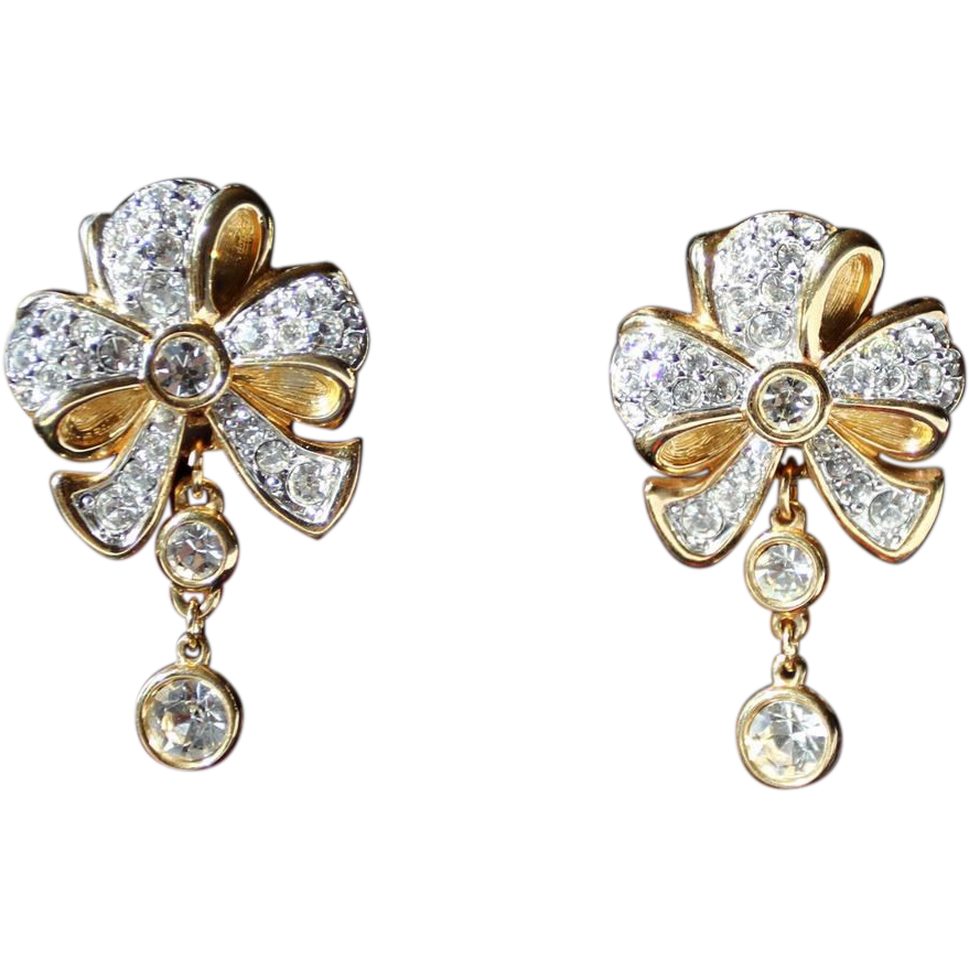 Swarovski Earrings-Swan Logo Clips-Bow Motif & Dangles-Crystal Ribbons