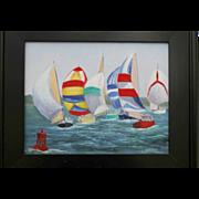 Summer Regatta-Original Oil Painting by L. Warner-11 X 14 Framed Canvas Panel