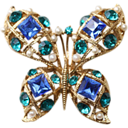 Butterfly Brooch-Signed MJ Ent.-Beautiful & Bold Fluttering Blues