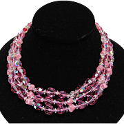 Hattie Carnegie-Pink Crystal Necklace & Murano Glass Beads-Three Sparkling Strands!