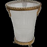 Satin Glass Vase-Art Deco Style Design-Circa 1930's-Gilt Brass Filigree