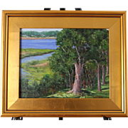 Afternoon On the Bay-Framed 11 X 14 Oil Painting by Artist L. Warner-Wooded Lawn in Summer