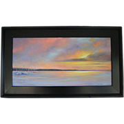 Sailor's Delight-Framed 12 X 24 Oil Painting by Artist L. Warner-Sunset and Sailboats on Moorings