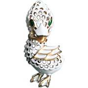 Trifari Duck-Pet Series-White Lattice Enamel-Too Cute