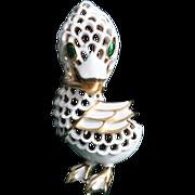 Trifari Duck-Pet Series-White Lattice Enamel-Too Cute
