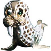 Trifari Walrus-Pet Series-White Lattice Enamel-Really Cute