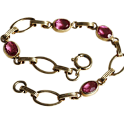 Bracelet-Vintage Gold Filled Links-Pretty in Pink!