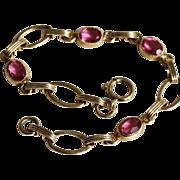 Bracelet-Vintage Gold Filled Links-Pretty in Pink!