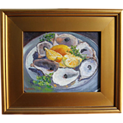 All Gone, Silver Plate-Framed 8 X 10 Oil Painting by L. Warner-Oyster Shells