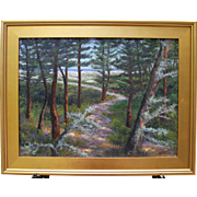 Landscape-Path thru the Pines-Cape Cod-Framed 18 X 24 Oil Painting-L. Warner Artist