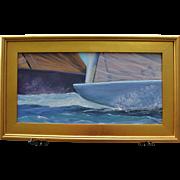 Pre-Start-Framed 12 X 24 Oil Painting by Artist L.Warner-12 Meter Sailboats Racing