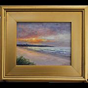 Seascape-Sunrise Over Easton's Beach, Newport, RI-8 X 10 Framed Oil Painting-L. Warner Artist