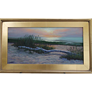 Sunset in Orleans, MA-Framed 12 X 24 Oil Painting by Artist L. Warner-Driftwood and Sandy Beach