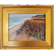 Rainy Day Dunes- Framed 9 X 12 Oil Painting by Artist L. Warner-Atlantic Ocean Beach