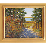 Golden Trail-Framed 8 X 10 Oil Painting by Artist L. Warner-Autumn Seashore Path