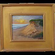 Sunrise Over Ocean-Framed 8 X 10 Oil Painting by L. Warner-Dunes of Cape Cod