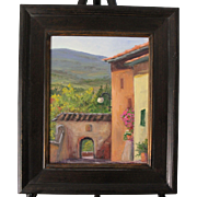 Tuscany Landscape-Framed 11 X 14 Oil Painting by Artist L. Warner-Village Street in Certaldo, Italy