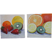 "Fruit Still Life-Two 8 X 8"" Oil Paintings by L. Warner-Colorful Citrus!"