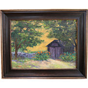 Tom's Shed-Framed 12 X 16 Painting by Artist L. Warner-Day Lilies with Rock Wall