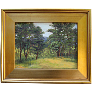Summer In Wellfleet-Framed 9 X 12 Oil Painting by Artist L. Warner-Golden Wooded Meadow