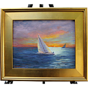 Sunset Sail-Framed 11 X 14 Oil Painting by Artist L. Warner-Sailboats with Golden Sky
