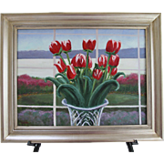 Tulip Bouquet-Framed 18 x 24 Oil Painting by Artist L. Warner-Springtime Floral with Crystal Vase