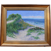 Dune with Rosa Rugosa-Framed 16 X 20 Oil Painting by Artist L. Warner-Cape Cod Seashore