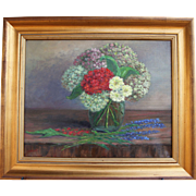 Fall Bouquet-Framed 16 X 20 Oil Painting by Artist L. Warner-Hydrangeas, Geranium & Marigolds in Vase